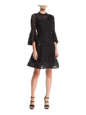 Rickie Freeman for Teri Jon Lace High-Neck Fit-and-Flare Cocktail Dress w/ Appliques