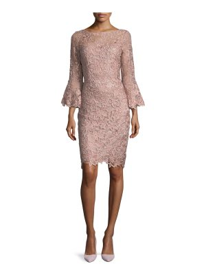 Rickie Freeman for Teri Jon Lace Trumpet-Sleeve Sheath Cocktail Dress