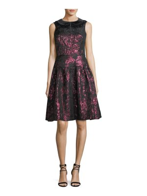 Rickie Freeman for Teri Jon Sleeveless Velvet Collar Metallic Jacquard Cocktail Dress