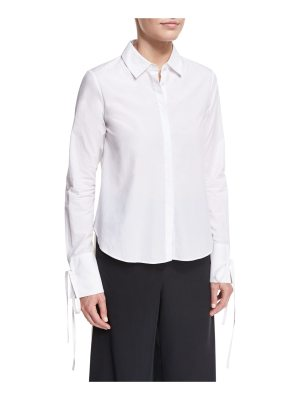 Robert Rodriguez Button-Front Poplin Shirt w/ Cuff Detail