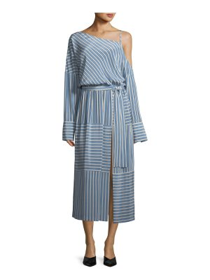 Robert Rodriguez Cold-Shoulder Striped Silk Satin Long Dress