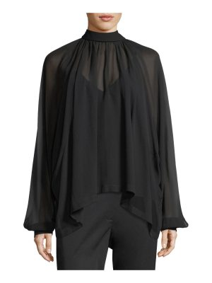 Robert Rodriguez Dolman Sleeve Button-Back Silk Chiffon Top