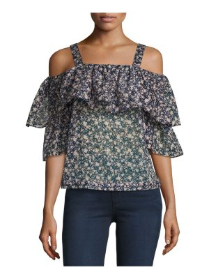 Robert Rodriguez Floral-Print Cold-Shoulder Top
