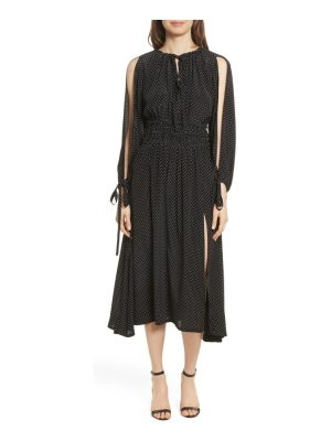 Robert Rodriguez polka dot silk cold shoulder dress
