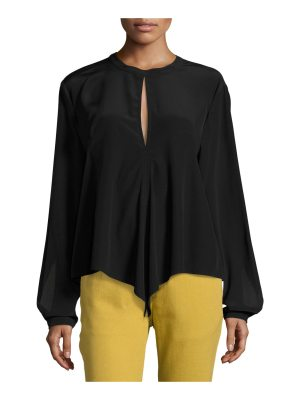 Robert Rodriguez Split-Back Front-Tie Silk Top Blouse