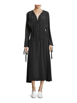 Robert Rodriguez Split-Sleeve Cold-Shoulder Polka-Dot Long Silk Dress