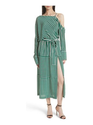 Robert Rodriguez stripe silk cold shoulder dress