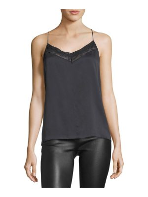 Robert Rodriguez V-Neck Crossover-Back Silk Top w/ Lace Trim