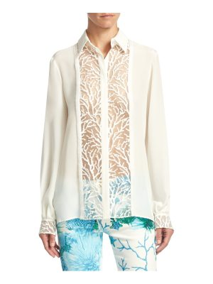 Roberto Cavalli lace button-front blouse