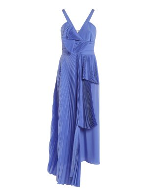 Rochas Draped-front pleated silk crepe de Chine dress