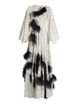 Roksanda audra feather embellished fil coupé gown