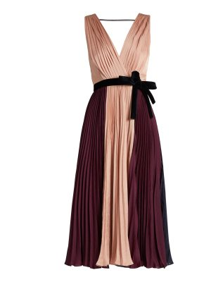 Roksanda Kora tri-colour pleated satin dress