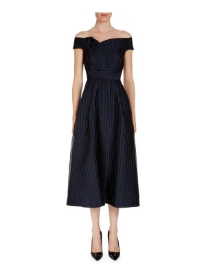 Roland Mouret Bentham Off-the-Shoulder Tea-Length Dress