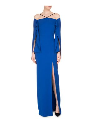 Roland Mouret Cheveley Flutter-Sleeve Strappy Evening Gown