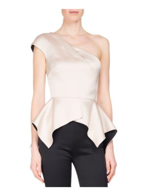 Roland Mouret Rodmell Silk Satin One-Shoulder Peplum Top