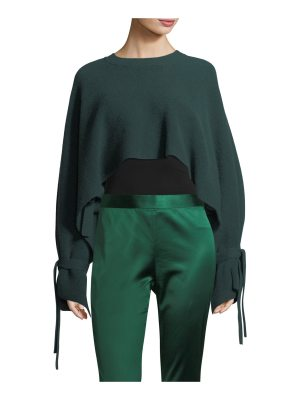 Rosetta Getty Tie-Sleeve Cropped Cashmere Sweater