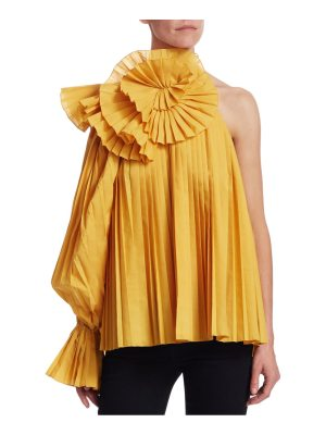 ROSIE ASSOULIN pleated one-shoulder escargot blouse