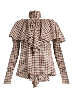 ROSIE ASSOULIN Tie-neck ruffled gingham top