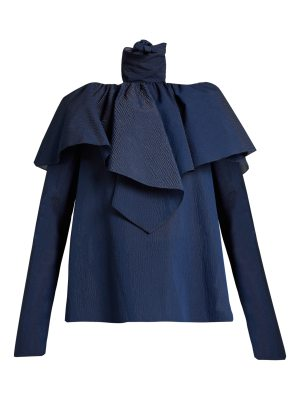 ROSIE ASSOULIN Tie-neck ruffled seersucker top