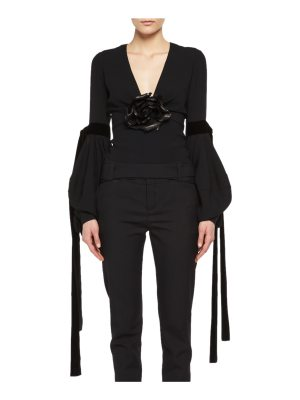 Saint Laurent Bishop-Sleeve Top with Leather Flower