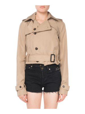 Saint Laurent Button-Front Belted Cropped Silk Trench Coat