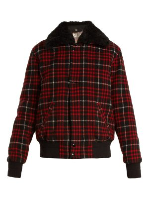 Saint Laurent Checked wool-blend bomber jacket