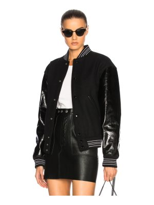 Saint Laurent Leather Sleeve Teddy Bomber Jacket