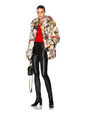 Saint Laurent Leopard Fox Fur Coat