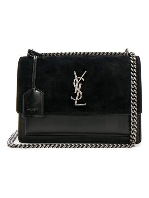Saint Laurent Medium Leather & Suede Monogramme Sunset Chain Bag