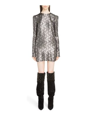 Saint Laurent metallic jacquard shift dress