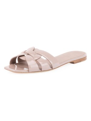 Saint Laurent Tribute Patent Leather Flat Slide Sandal