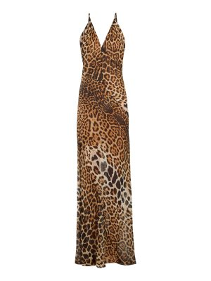 Saint Laurent V-neck leopard-print silk dress