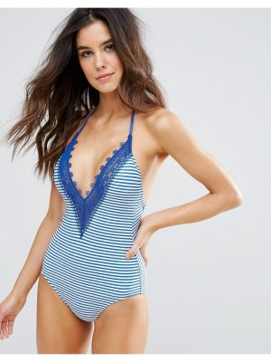 Seafolly Riviera Lace Deep V Maillot Swimsuit