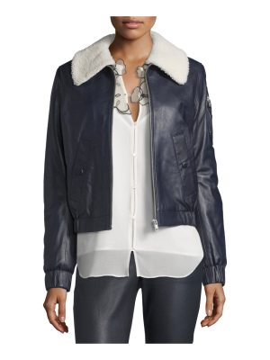 See By Chloe Leather Bomber Zip-Front Jacket
