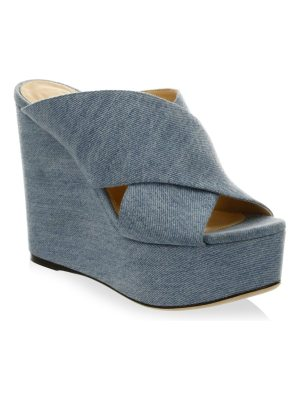 Sergio Rossi cotton criss cross wedge sandals