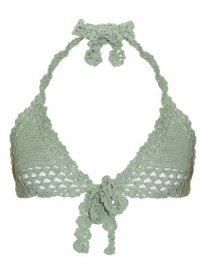 SHE MADE ME Hira tie-front triangle crochet bikini top
