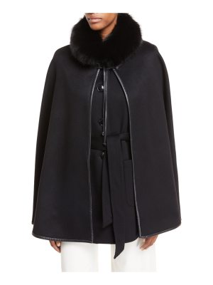 Sofia Cashmere Cashmere Vest & Detachable Cape w/ Fur Collar