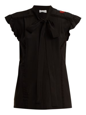 Sonia Rykiel Floral-embroidered tie-neck silk blouse