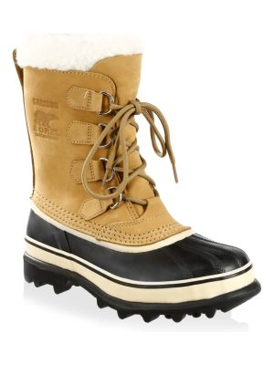 Sorel caribou leather & faux fur lace-up boots