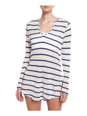 Splendid Striped Hoodie Coverup Tunic