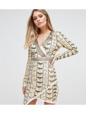 Starlet Plunge Front Mini Dress with Wrap Skirt in All Over Embellishment