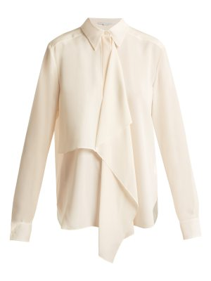 Stella McCartney Draped-front silk-crepe shirt