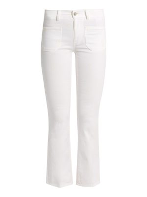 Stella McCartney Floral-embroidered cropped kick-flare jeans