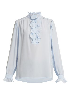 Stella McCartney Ruffled-collar silk-crepe blouse
