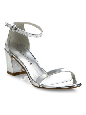 Stuart Weitzman simple metallic block heel sandals