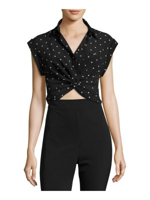 T by Alexander Wang Collared Knot-Front Crop Shirt