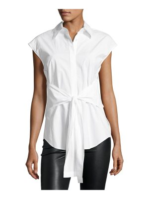 T by Alexander Wang Collared Tie-Front Poplin Shirt