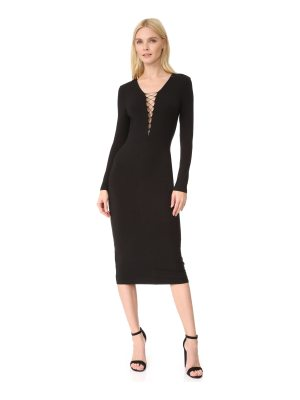 T by Alexander Wang lace up long sleeve dress
