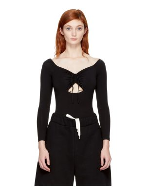 T by Alexander Wang Lace-up Off-the-shoulder Bodysuit