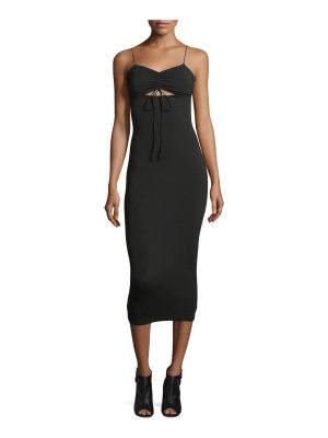 T by Alexander Wang Stretch-Jersey Sleeveless Fitted Dress with Cutout and Ties